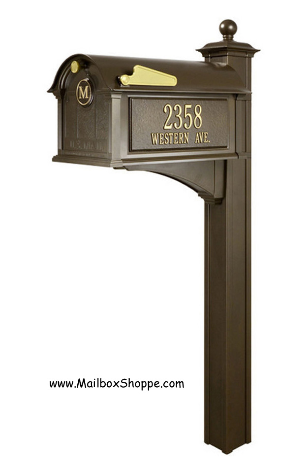 Wonderful Bronze Mailbox With Post Part - 6: Whitehall Balmoral Mailbox Package (Bronze)