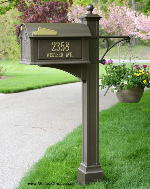 Superior Bronze Mailbox With Post Part - 4: Whitehall Balmoral Mailbox With All The Add-ons. This Photo Shows Both The  Post Cuff (at The Base) And The Flower Hook (flowers/basket Not Included)