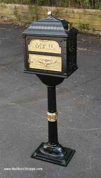 Black Classic Mailbox with brass accents