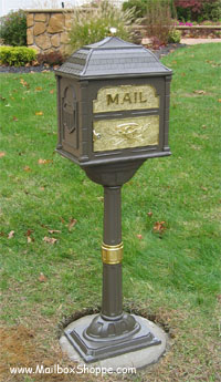 Bronze Classic Mailbox with brass accents