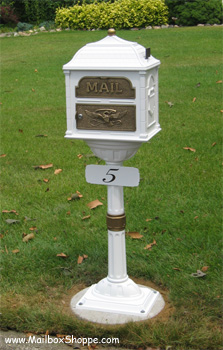 White Classic Mailbox with bronze accents