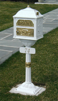 White Classic Mailbox with brass accents