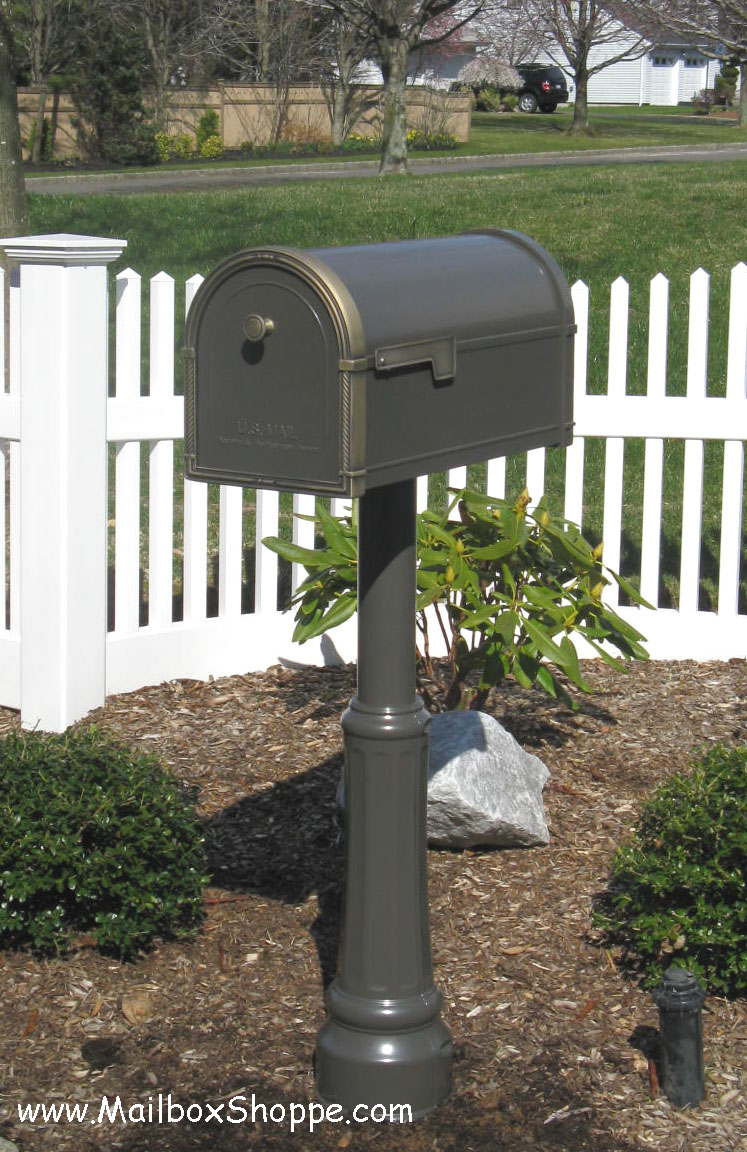 coronado mailbox standard post with decorative post base added bronze antique bronze - Decorative Mailboxes