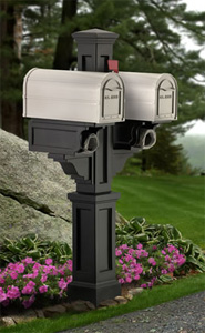 Black Rockport Double PVC Mailbox Post