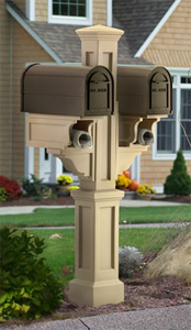 Clay Rockport Double PVC Mailbox Post