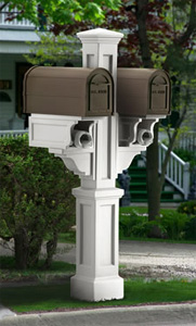 White Rockport Double PVC Mailbox Post