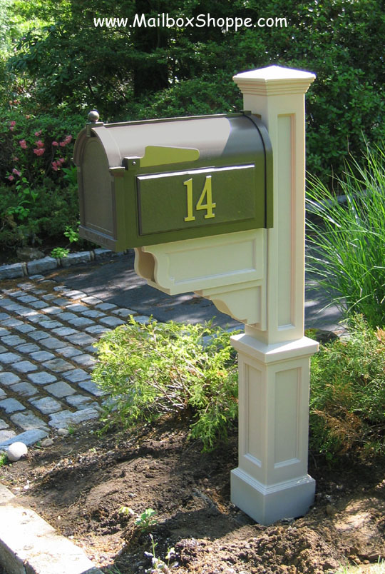 Bronze Mailbox With Post Part - 33: Clay Dover PVC Mailbox Post And Bronze Whitehall Mailbox
