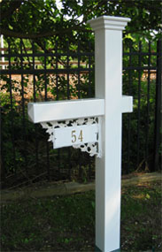 Vinyl mailbox post with custom number sign bracket
