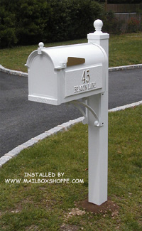 White Whitehall Products Deluxe Mailbox and Post