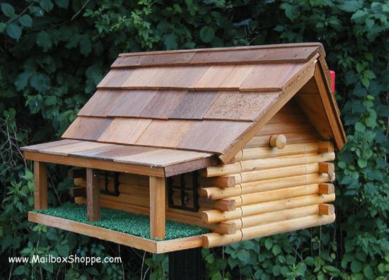 Cedar Wood Log Ranch Mailbox